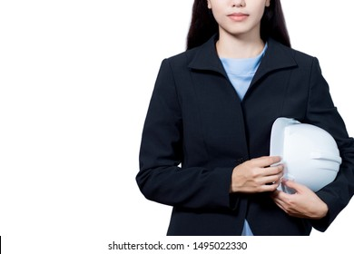 Closeup young woman asian architect or a businessman wearing a suit holding a safety helmet. Isolated background white. With Clipping Path.