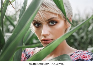 Close-up of young woman between green leaves in a corn field in summer