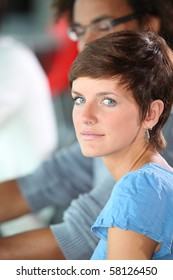 Closeup of young woman with blue eyes