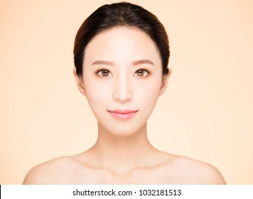 closeup young woman with clean fresh skin