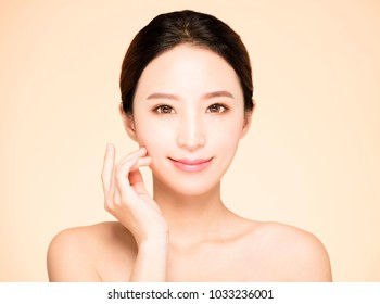 closeup young  woman face with clean fresh skin