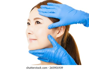closeup young   woman face with medical beauty concept