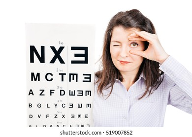 Closeup of a young woman patient checking an eye while holding it and standing near the eye chart - isolated on white.