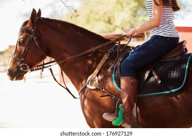 Closeup of a young woman riding a horse on a sunny day