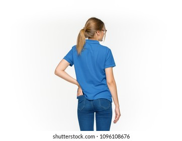 8e375dc48e12 Closeup of young woman s body in empty blue t-shirt isolated on white  background.