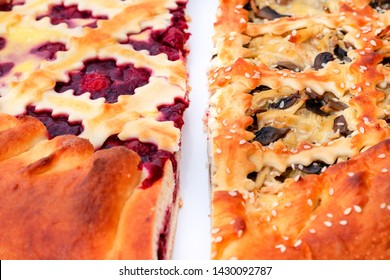 close-up.Piece of Delicious Homemade Cherry Pie  and Piece of  Fresh Meat pie,Florentine.  Cherry tart cake.