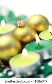 close-ups of Christmas balls and candles - Christmas time