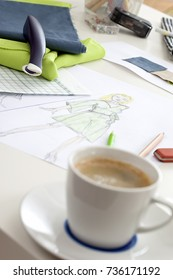 Close-Ups of Desk depicting different occupations professions: Fashion Designer