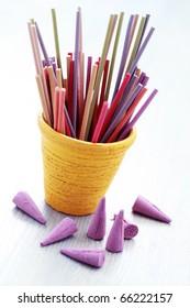 close-ups of incense sticks - aromatherapy