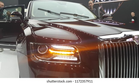 Close-ups of the new Russian Aurus limousine at the exhibition MIMS 2018. SEP 03, 2018 MOSCOW, RUSSIA