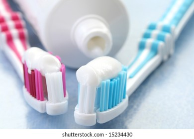 close-ups of toothpaste and toothbrushes - dental care