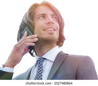 closeup.successful businessman talking on the phone