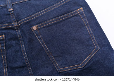 Close-up.-the back side of denim blue jeans texture with pocket,