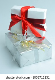 closeup.white box with gift.isolated on white