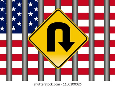 The Closing of the American Border. Concept sign for the American restriction of immigration