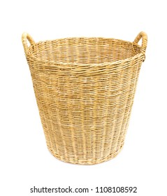 Closup empty wicker baskets on white background, housework concept