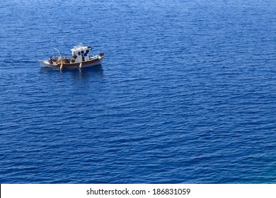 A closup of a fishing boat on a sea, Greece