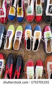 Closup of original colourful handmade shoes