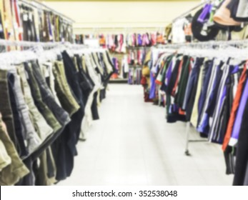 cloth aisle,some scene  in thrift store.-blurred.