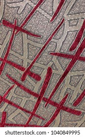The cloth. Background of fabric. Close-up. Texture. Red and gold