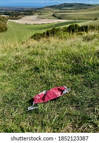 cloth facemask discarded in field