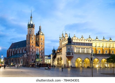 Cloth Hall and Mary's Church in city center of Krakow, Poland
