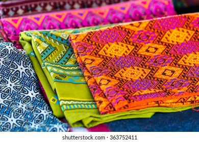 Cloth handicraft (hand-woven) colorful hill-tribe in northern Thailand.
