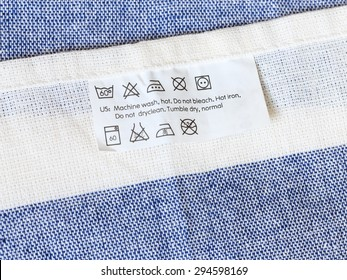 Cloth label with laundry care instruction