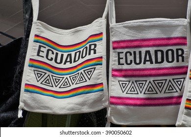 Cloth printed bags with Ecuador on them in the Otavalo Market