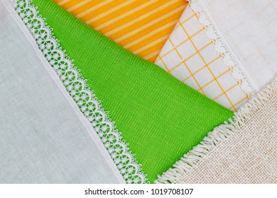 Cloth tablecloth and napkins as Easter background. Set of traditional  Easter fabric household linen and napkin