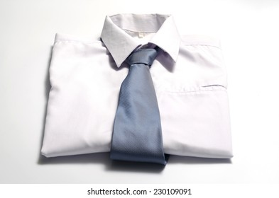cloth white shirt with blue neck tie