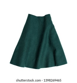 Clothes and accessories. Emerald skirt isolated on white background.