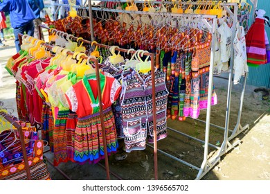 Clothes and accessories made for sale at Sapa  in Vietnam, Hmong ethnic style