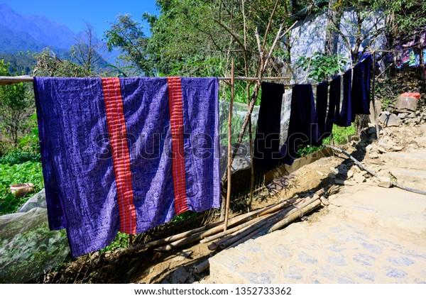 Clothes Accessories Made Sale Sapa Vietnam Stock Photo (Edit Now