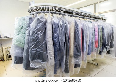 Clothes after dry cleaning in the laundry