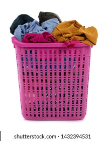Clothes in basket isolated on white background