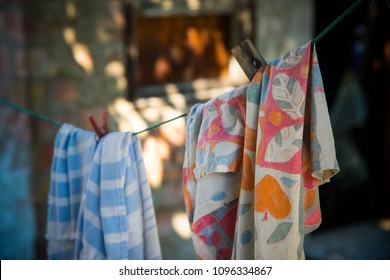 clothes in the breeze on clothesline