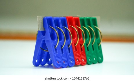 Clothes clip neatly lined up