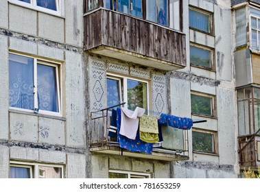 Clothes dry on the balcony of soviet time apartment building in Karosta district, Liepaja, Latvia