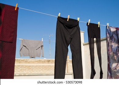 Clothes drying.