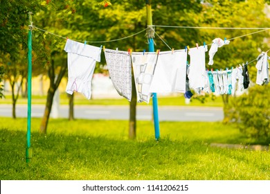 Clothes drying in fresh air on clothes lines. Way of life