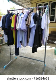 Clothes drying on the back of the house on holiday, clean clothes. , Drying clothes clean.