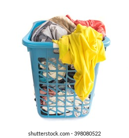 Clothes fabric basket on white background