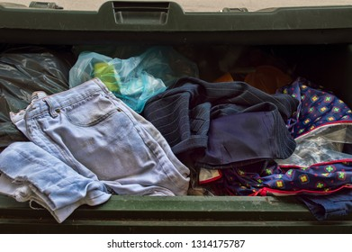 clothes and fabric on container
