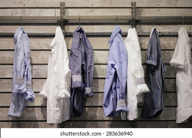 clothes hang on in a clothing store