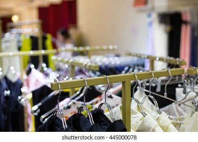 Clothes hanger fashion of female in store shop.