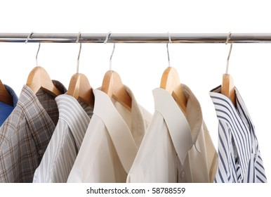 clothes hanger with man's shirts