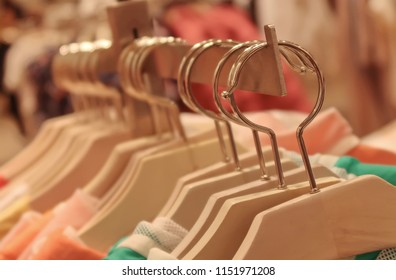 Clothes hangers in a shop