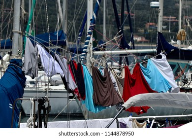 Clothes hanging in a boat at Port of Porto-Vecchio