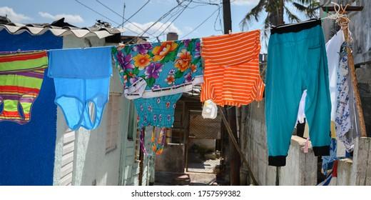 Clothes hanging on a clothesline, Jaimanitas, Playa, Havana, Cuba